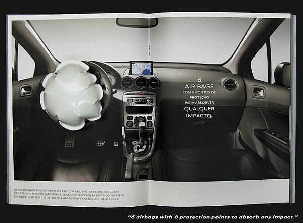 Peugot's print ad would inflate an airbag if hit.