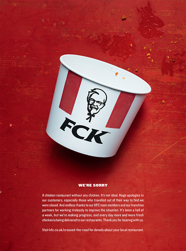 KFC print ad utilizes humor and humility to apologize to its customers.