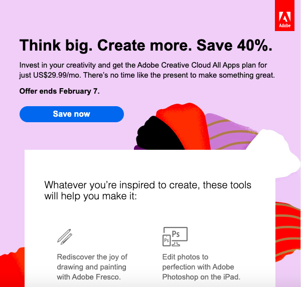 Adobe personalized email example