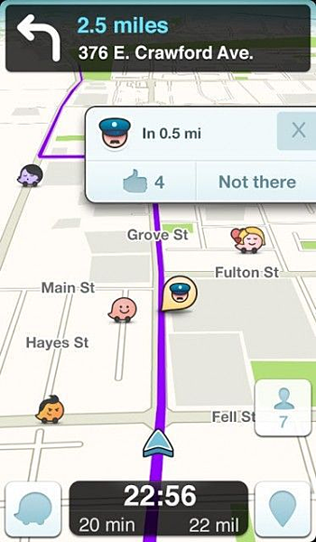 Waze, a crowdsourced traffic app.