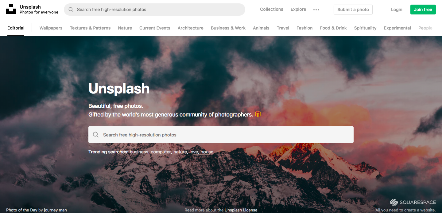 Unsplash is a crowdsourced free stock images site.