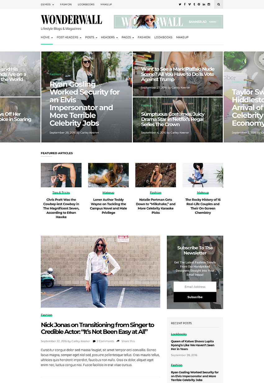 Wonderwall Magazine WordPress Theme