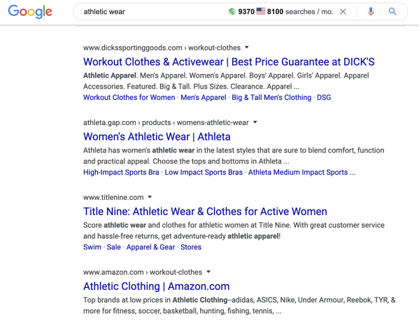 "Google organic search results for ""athletic wear"" query."