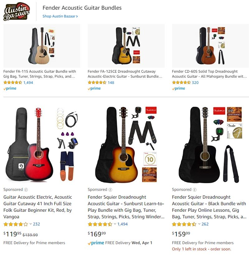 amazon sponsored ads acoustic guitars