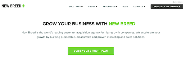 new breed marketing landing page