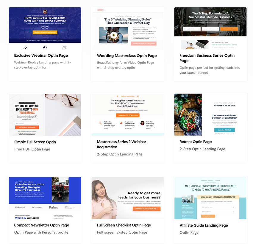 OptimizePress Landing Page Examples
