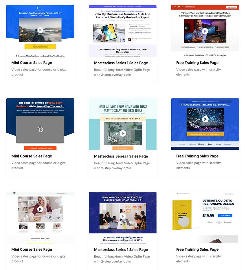 OptimizePress Sales Page Template Examples