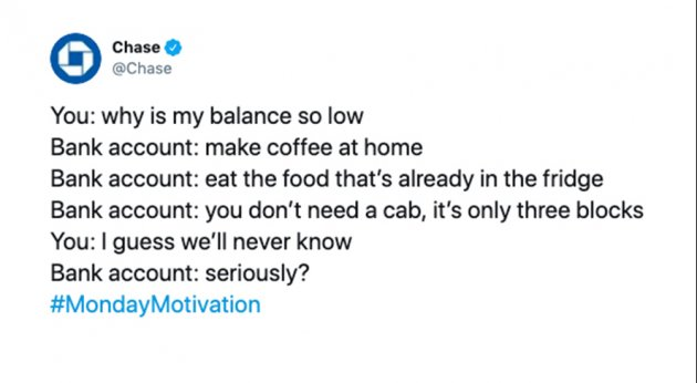 Chase tweet about spending habits.