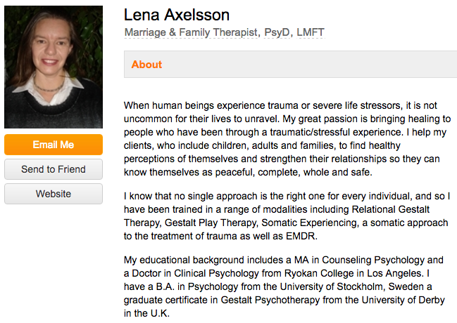 Lena Axelsson's professional bio on an industry website for therapists
