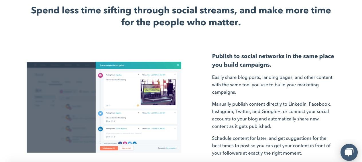 Example of HubSpot's social tool