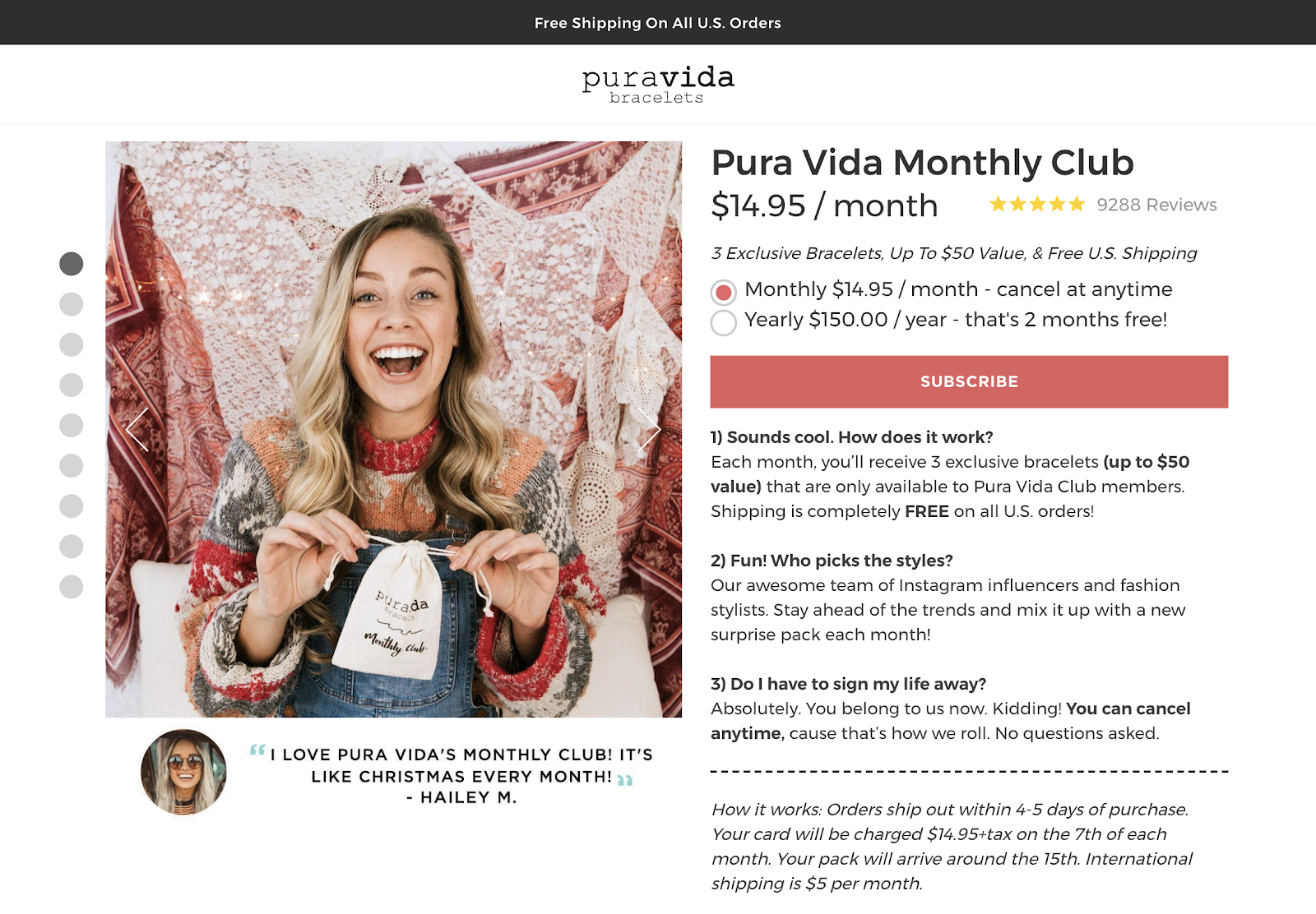 pura vida monthly club offer example social media engagement strategy