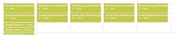 noting a morning routine in google calendar