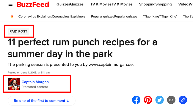 Captain Morgan Advertorial on BuzzFeed