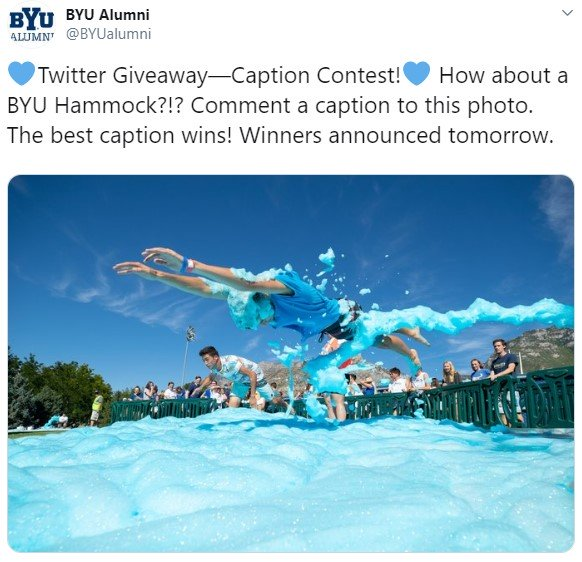 BYU's caption contest on Twitter