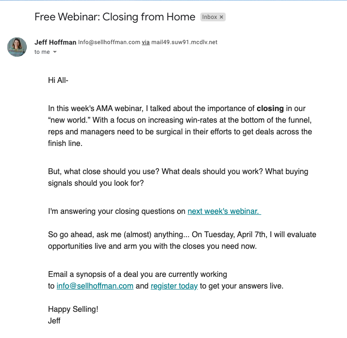 Example of a Jeff Hoffman email campaign