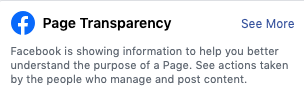 Page Transparency bar on Facebook