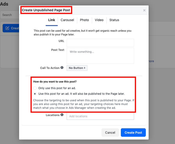 Creating an Unpublished Page Posts on Facebook