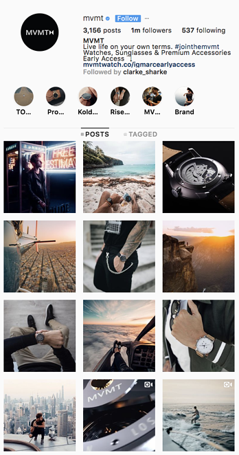 mvmt instagram showing edgy theme