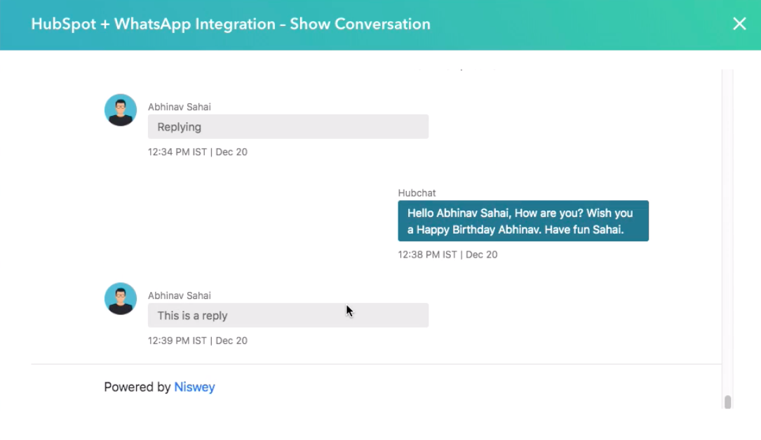 Example of WhatsApp and HubSpot integration.