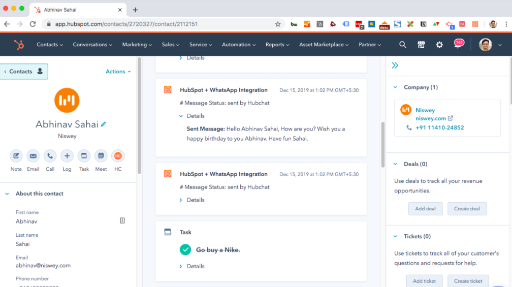 Example of HubSpot and WhatsApp integration.