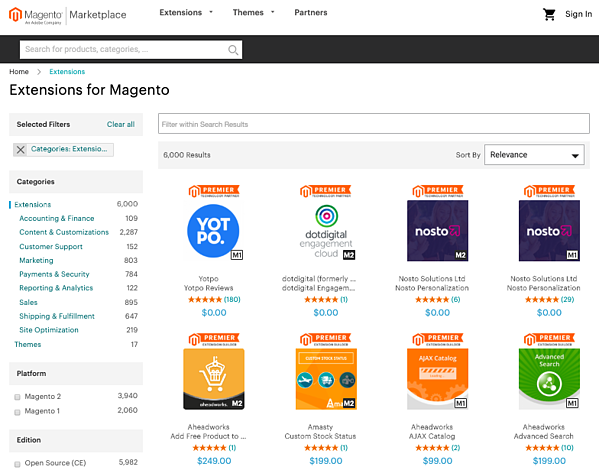 Magento CMS extensions marketplace