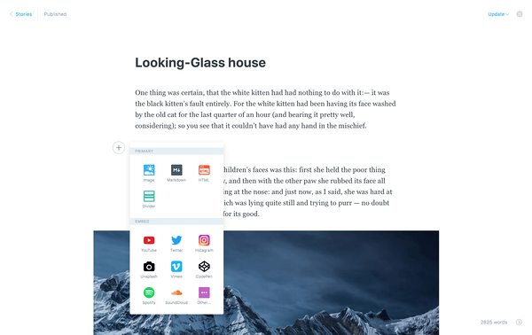 ghost cms platform example with desktop and mobile demos