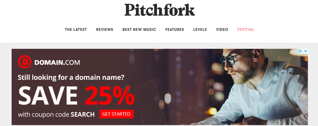 Banner ad on Pitchfork