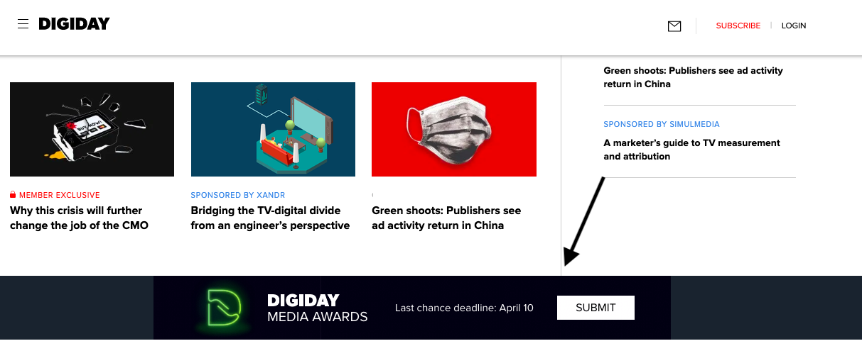 Digiday banner ad