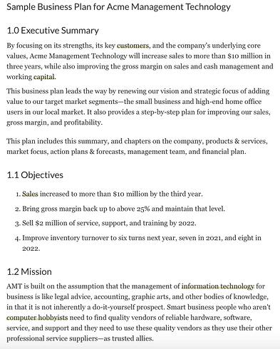 Fictional business plan by ThoughtCo.