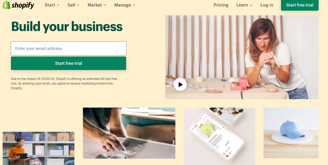 Shopify's above the fold website design