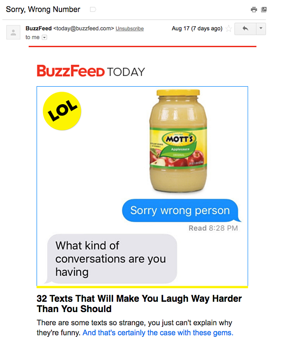 Email marketing campaign example by BuzzFeed Today
