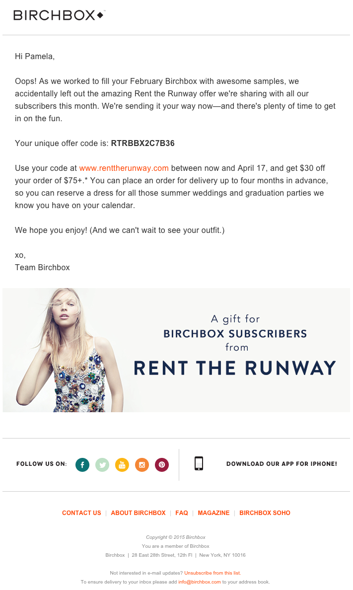 Email marketing campaign example by Birchbox featuring a comarketing promotion