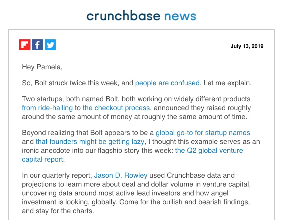"Crunchbase News email with subject line of ""China Falls, Sleepy Unicorns, And The Deals Aren't Bigger In Texas"""