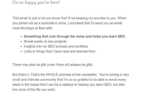 Welcome email example by SEO For the Rest of Us.