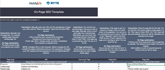 Sample On-Page SEO template
