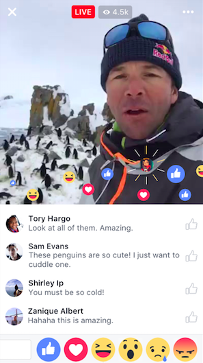Comments and reactions under Facebook Live video