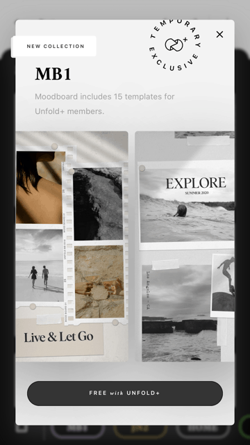 An Unfold interface showing collage-making process.