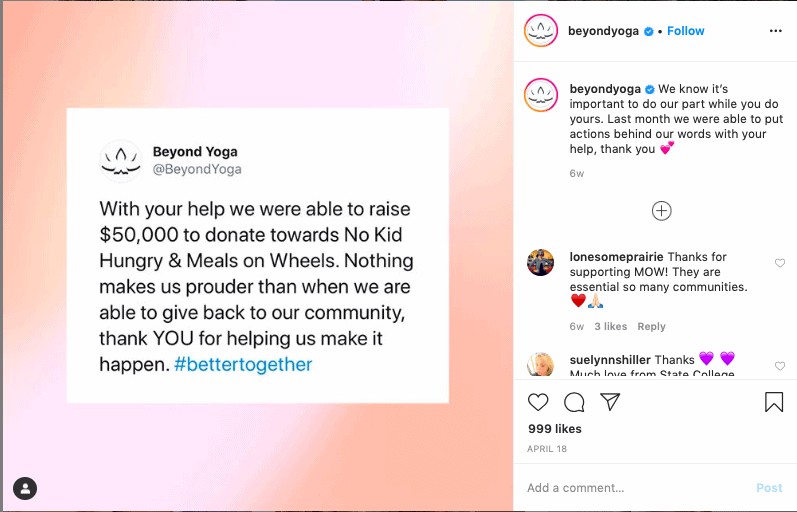 An example of an Instagram content idea featuring a tweet.