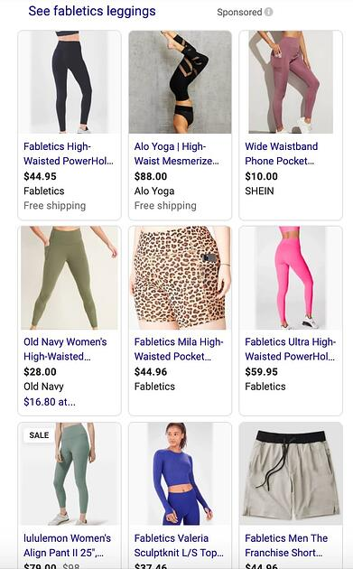 Google shopping campaign ads for Fabletics leggings.