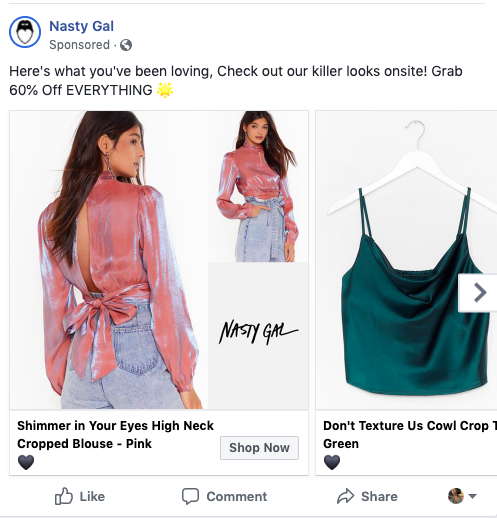 Retargeted ad on Facebook.