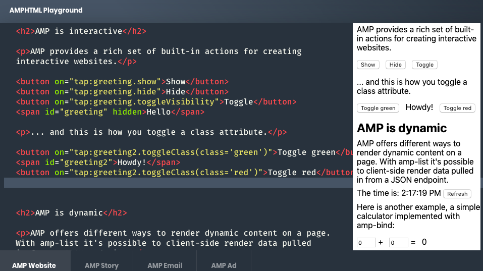 Google AMP toggle class attributes