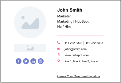 modern email signature generated by HubSpot's email signature generator