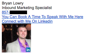 Professional email signature example by Bryan Lowry with meeting link