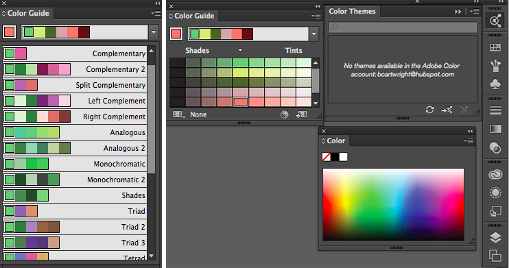 Color options on Illustrator Color Guide tool