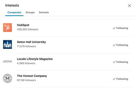 Channels and companies on a LinkedIn profile.