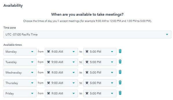 screenshot of designating meeting availability in hubspot
