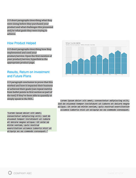 """example of a case study template in Microsoft Word with graphs and sections for """"how product helped"""" and """"results"""""""