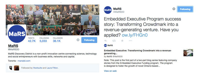 Mars Discover District tweets showing their promotion of case studies