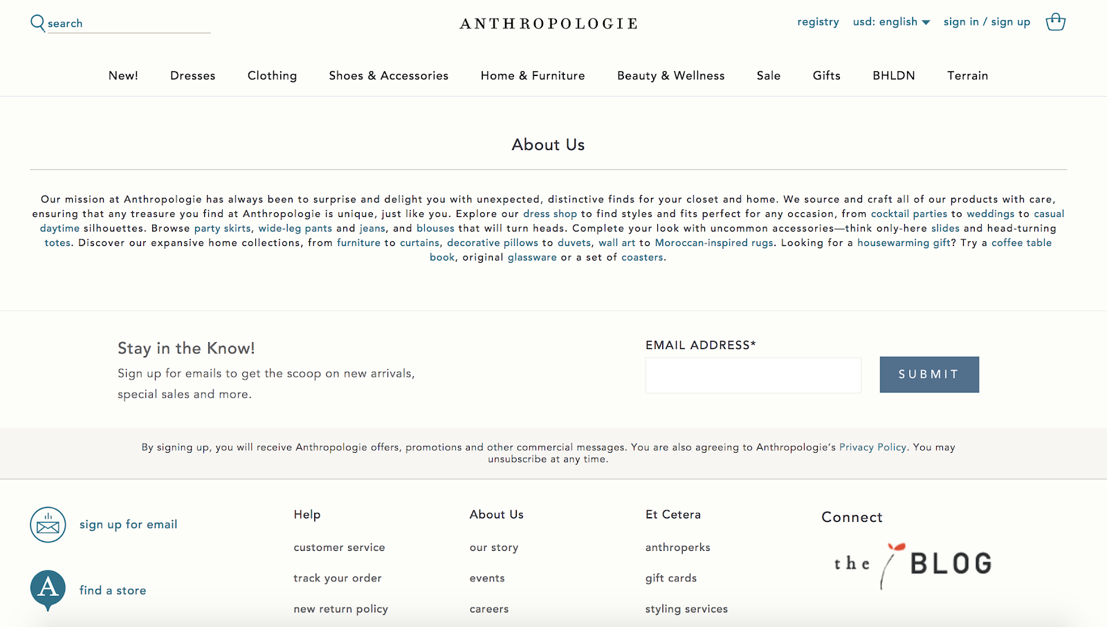 anthropologie homepage with signup form at the bottom of the page above the footer