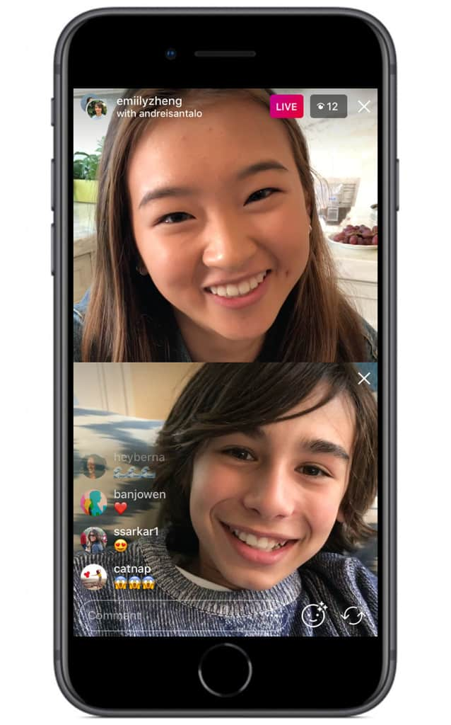 An image showing how a call on Instagram live looks like.